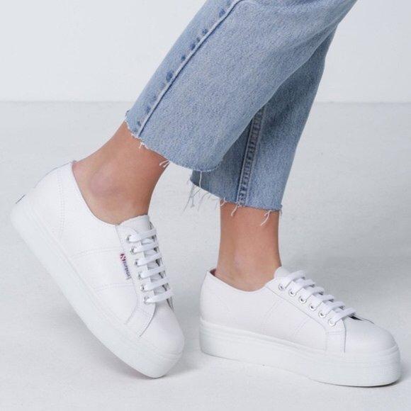 Nwt Superga White Platform Leather